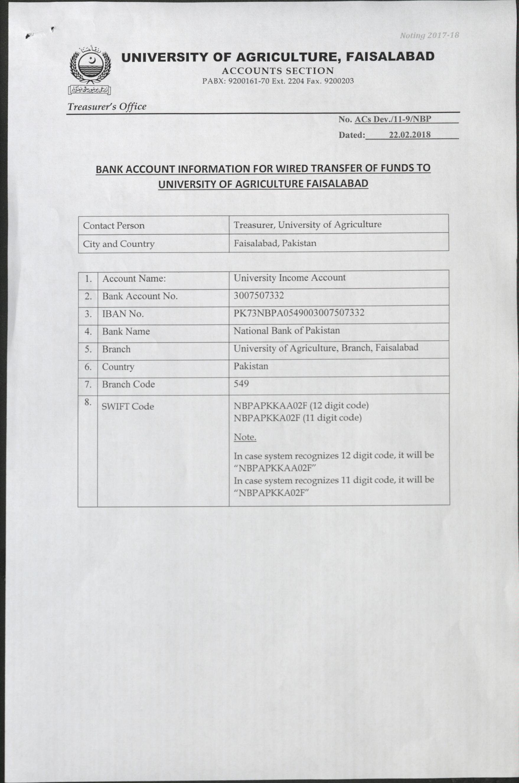University of Agriculture, Faisalabad, Pakistan -> Downloads
